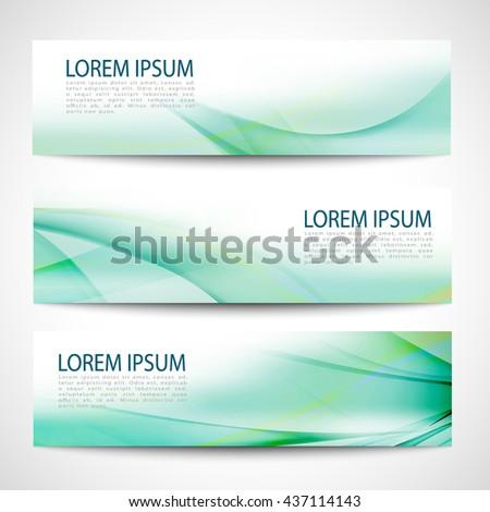 Abstract header green wave white vector design - stock vector