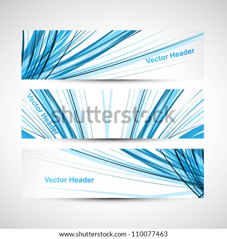 Abstract header line blue colorful wave technology vector illustration - stock vector