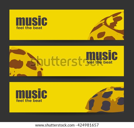 Abstract header or banner set with flat discount offer. Feel the beat. Creative design. Free music images. Festival Vector mockup. DJ poster design. DJ background. Vector. Isolated. - stock vector