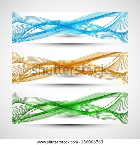 Abstract  header three different colorful  line wave vector - stock vector