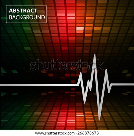 Abstract heart beats cardiogram illustration. vector. Pixels, Mosaic, Table. text box. card - stock vector