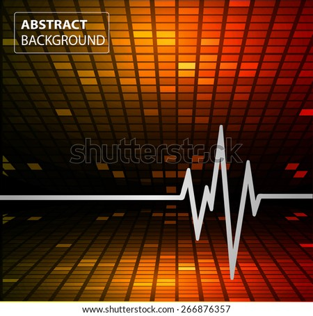 Abstract heart beats cardiogram. Pulse icon. orange red background. Mosaic table, pixels - stock vector