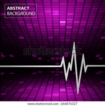 Abstract heart beats cardiogram.. Pulse icon.purple background. Mosaic table, pixels - stock vector