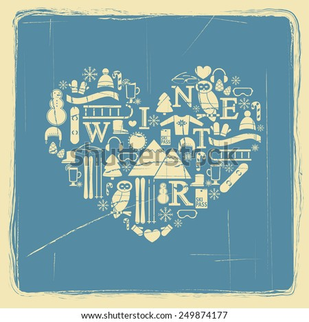 abstract heart symbol of winter flat icons with vintage effect vector for design - stock vector
