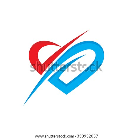 Abstract heart - vector logo template creative illustration. Love sign. Valentine's Day concept symbol. Design element. - stock vector