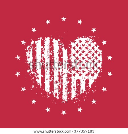 abstract heart with usa flag, patriotic sign, t-shirt print, vector illustration - stock vector