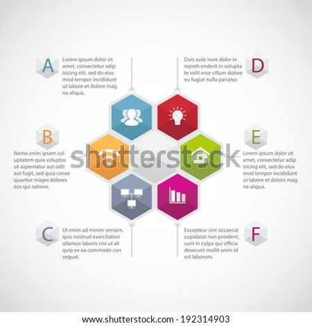 Abstract hexagon illustration Infographic template - stock vector