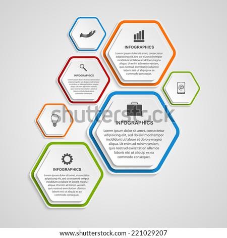 Abstract hexagon infographics template. - stock vector