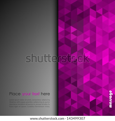 Abstract holiday background with purple geometric pattern - stock vector