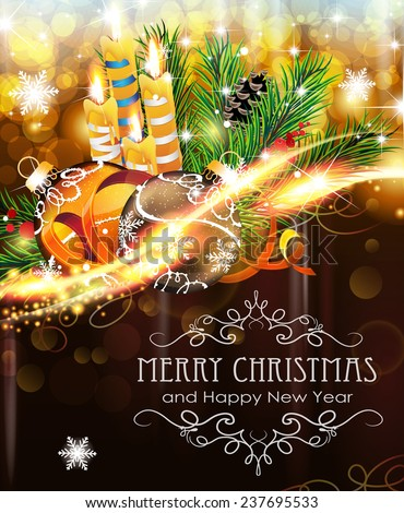 Abstract holiday background with sparkles, Christmas balls, candles and fir branches - stock vector
