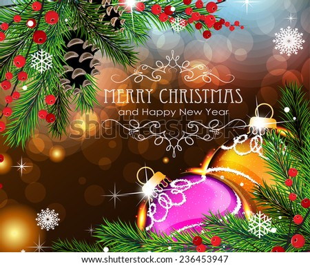 Abstract holiday background with sparkles, Christmas ornaments and fir branches - stock vector