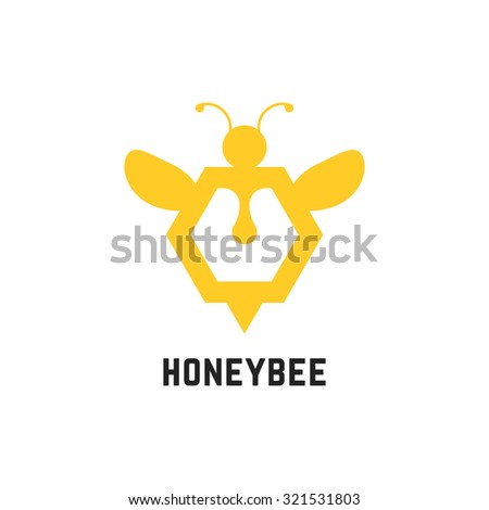 abstract honey bee sign. concept of visual identity, promotion, syrup, liquid sweetness, honeyed nectar, apiary. isolated on white background. flat style trend modern brand design vector illustration - stock vector