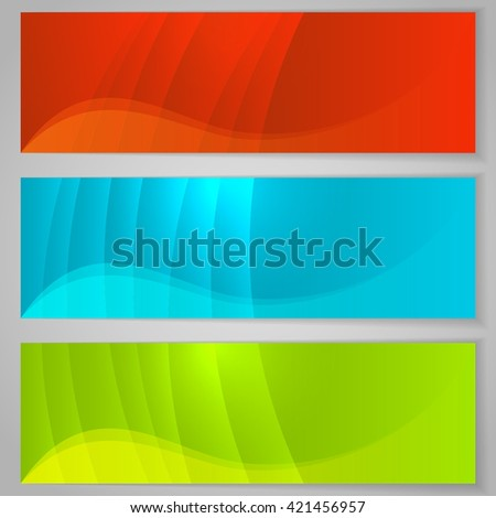 Abstract horizontal color banners isolated on grey background. - stock vector