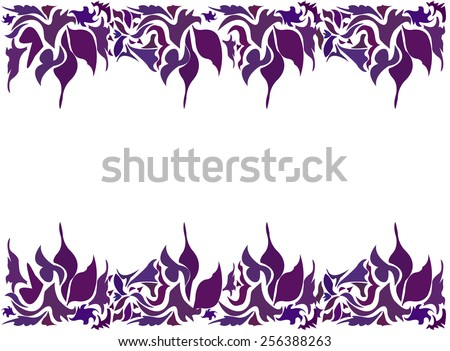 Abstract horizontal wavy pattern floral frame design for card - vector - stock vector
