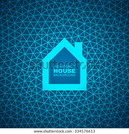 Abstract house triangular mesh background. - stock vector