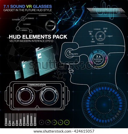 Abstract HUD VR. HUD UI for VR. Futuristic user interface. UI HU infographic for VR. Interface screen for motion design - stock vector