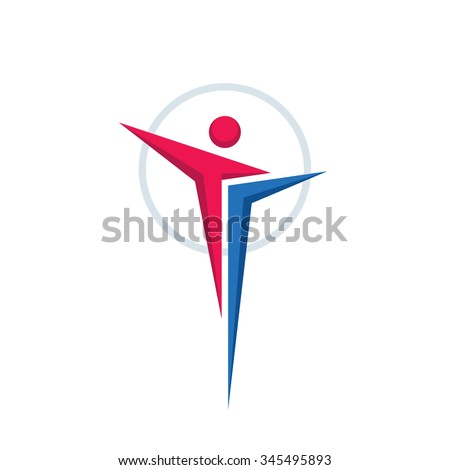 Abstract human character - vector logo concept illustration for sport club, health center, music festival etc. Vector illustration symbol. Vector logo template. Human icon. Design element. - stock vector