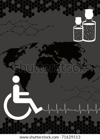 abstract human disability concept background, vector illustration - stock vector