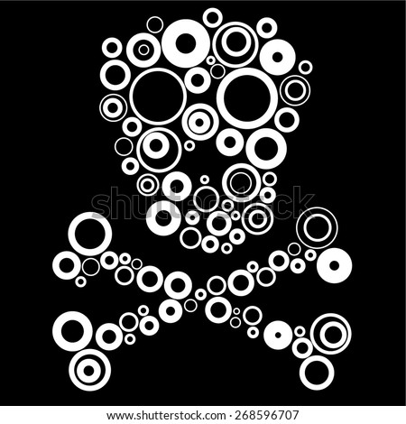 Abstract human skull made from white circles - stock vector