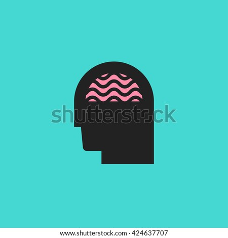 Abstract icon of human silhouette with brain. Idea, creativity or brainstorm logo - stock vector