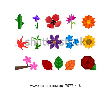 Abstract icon set of plants and flower icons for all seasons, weather and climates. - stock vector