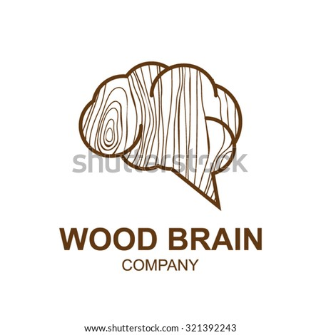 Abstract icon with wooden texture,brain,Logo design,Vector illustration,concept wood, sign,symbol,icon,Interesting design template for your company logo - stock vector