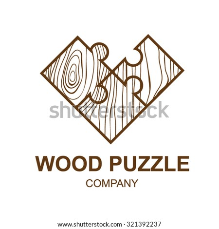 Abstract icon with wooden texture,puzzle,Logo design,Vector illustration,concept wood, sign,symbol,icon,Interesting design template for your company logo - stock vector