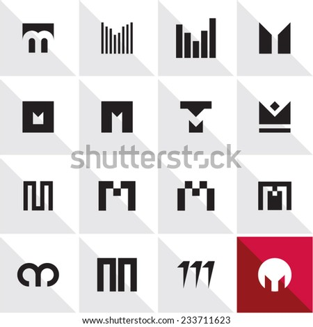 abstract icons letter M - stock vector