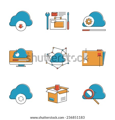 Abstract icons of cloud computing communication technology, internet server hosting, folder sharing, computer data management. Unusual flat design line icons set unique art vector illustration concept - stock vector