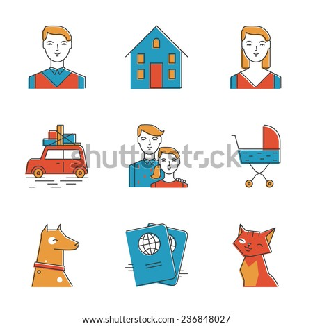 Abstract icons of perspective family, planning new life with the child, new home, traveling and keeping domestic pets. Unusual flat design line icons set unique art vector illustration concept. - stock vector