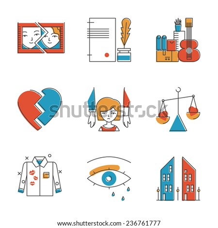 Abstract icons of problematic relationship like divorce, heartbroken, remarriage, husband mistress and unhappy breakup. Unusual flat design line icons set unique art vector illustration concept. - stock vector