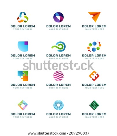 Abstract icons or logotypes design elements business creative symbols vector set - stock vector