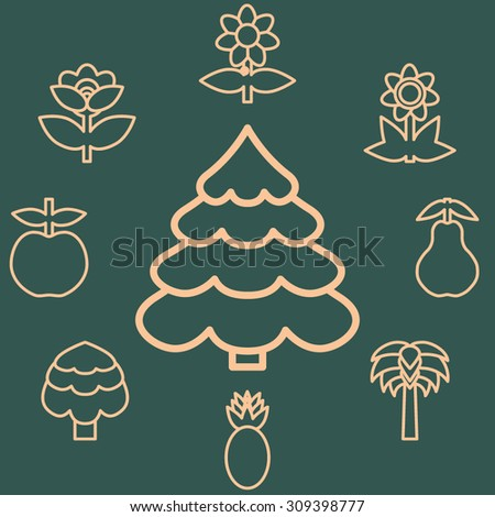 Abstract icons outline of the subjects trees flower and fruit. Symbol of nature and naturalness. Logo design elements for organic businesses.  Vector illustration - stock vector