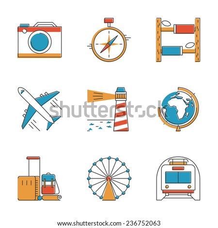 Abstract icons set of planning a vacation, traveling on holiday journey, and passenger luggage. Unusual flat design line icons set unique art vector illustration concept. - stock vector