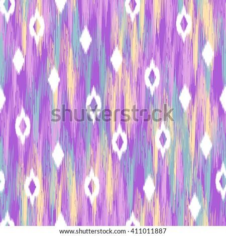 abstract ikat diamond design ~ seamless background - stock vector