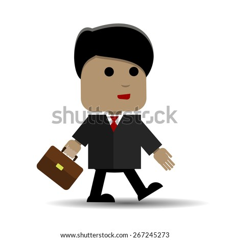 Abstract illustration of a businessman with a briefcase comes - stock vector