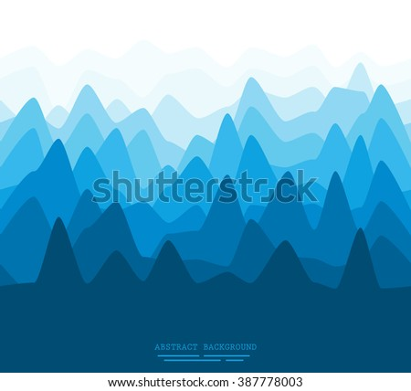 Abstract illustration of a flat mountain scenery pattern - stock vector