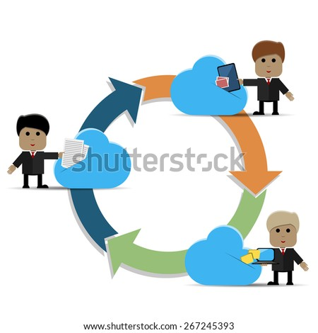 Abstract illustration of a man and cloud storage - stock vector
