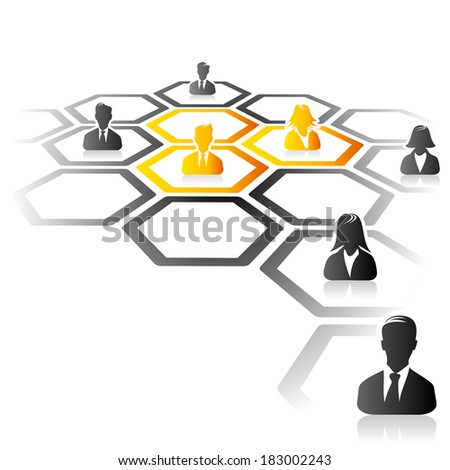Abstract illustration of business acquisition process - stock vector