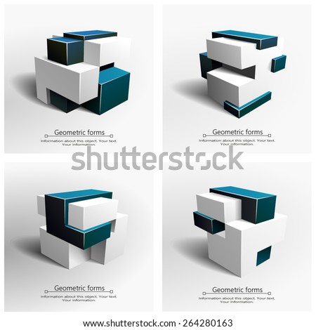 Abstract illustration of geometric form in 3D (4 options) - stock vector