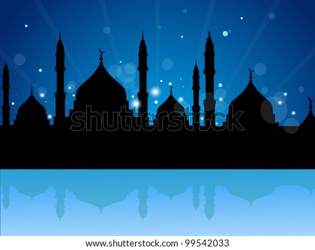 Abstract Illustration of Mosque or Masjid on abstract background on rays background in blue color EPS 10 vector illustration - stock vector