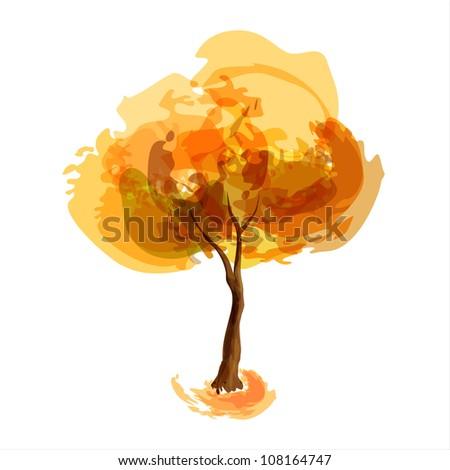 Abstract illustration of stylized tree. Autumn season - stock vector
