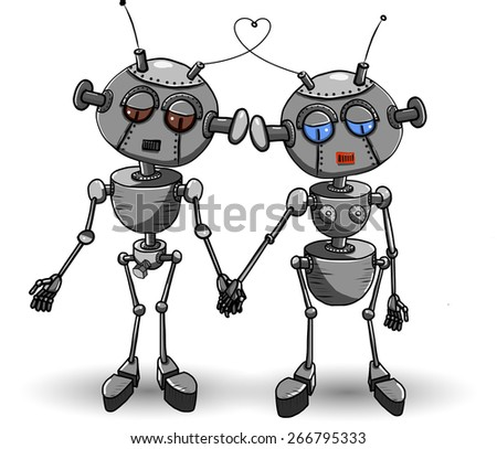 Abstract illustration of two iron robot lovers - stock vector
