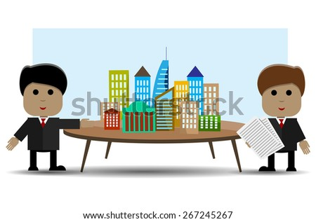 Abstract illustration of two people and architectural design - stock vector