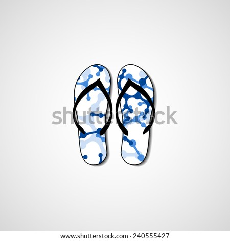 Abstract illustration on flip flops, template editable. - stock vector