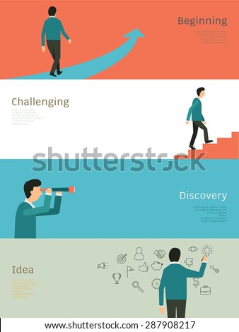 Abstract Illustration set of businessman walking on arrow, step up on stair, with telescope, and standing writing on wall. Simple and flat design. - stock vector
