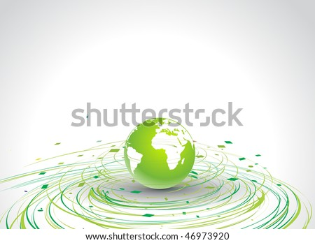 Abstract illustration with circle wave line globe in eco background, vector illustration - stock vector