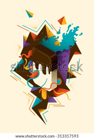 Abstract illustration with isometric ice cream. Vector illustration. - stock vector