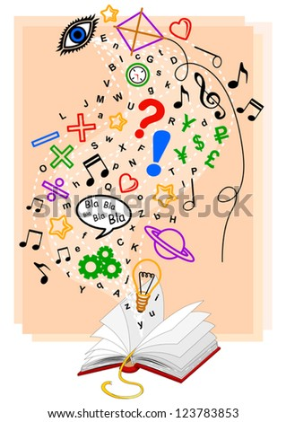 Abstract illustration, with several symbols and letters, about knowledge that is contained in a book. - stock vector