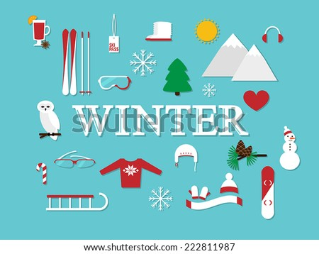 """abstract illustration with word """"winter"""" and winter icons around vector card template - stock vector"""